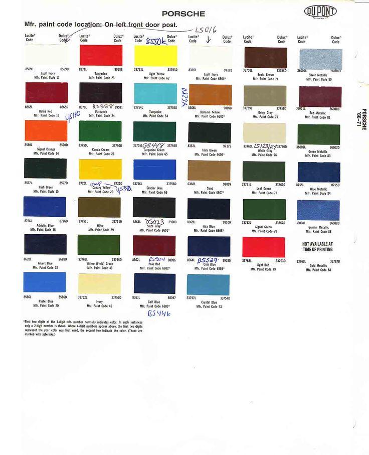 Factory Car Colors