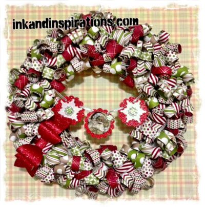 Stampin' Up! DIY Home Decor- Christmas Wreath created with designer paper. www.inkandinspirations.com