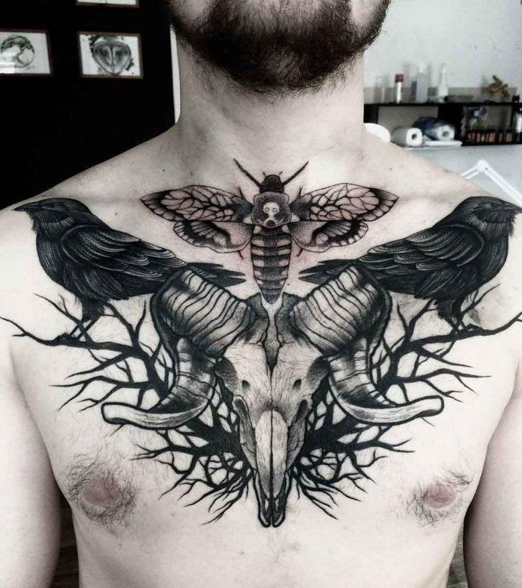 Sparrow chest tattoo