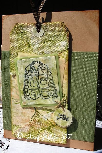 Paper towel distress stamped fishing card