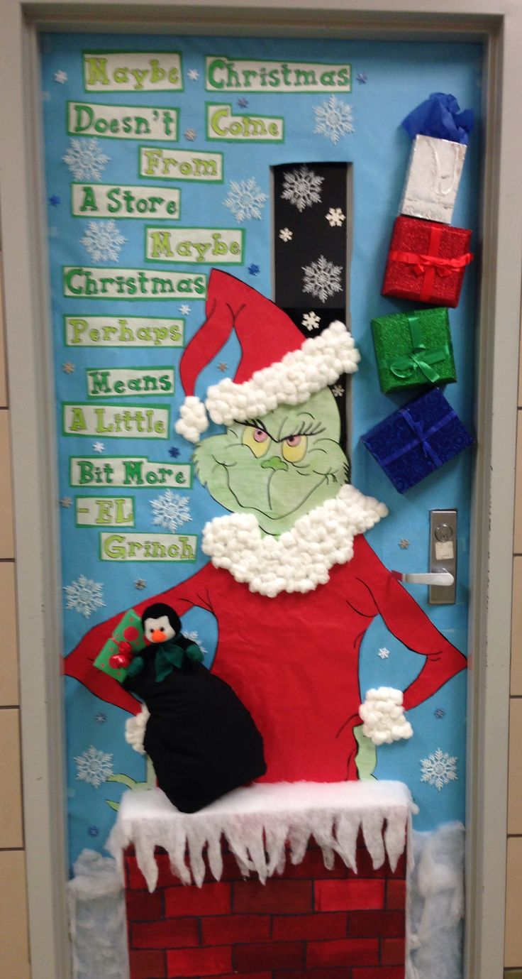 Grinch doors and bulletin boards on pinterest for Decorating bulletin boards for work