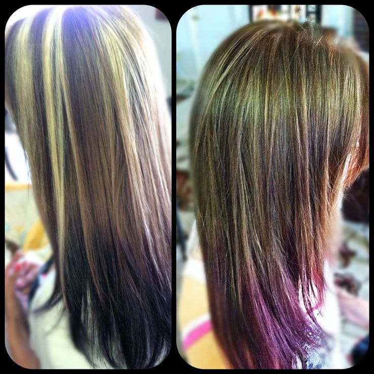 Before blonde highlights purple tips after subtle caramel with purple