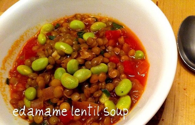 Lentil and edamame soup | Eat your veggies | Pinterest