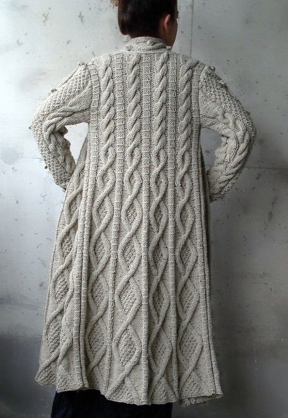 Knitting Patterns For Long Sweater Coats : Beige Cable Long Knitted Coat Cardigan