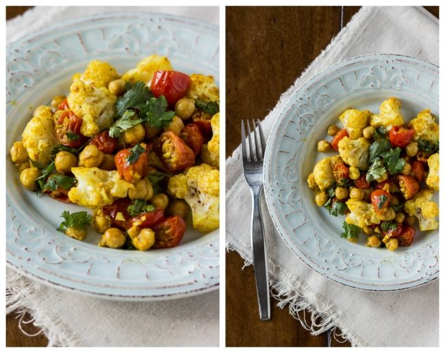 Roasted Cauliflower, Tomatoes, Chickpeas w/ Indian Spices - The ...