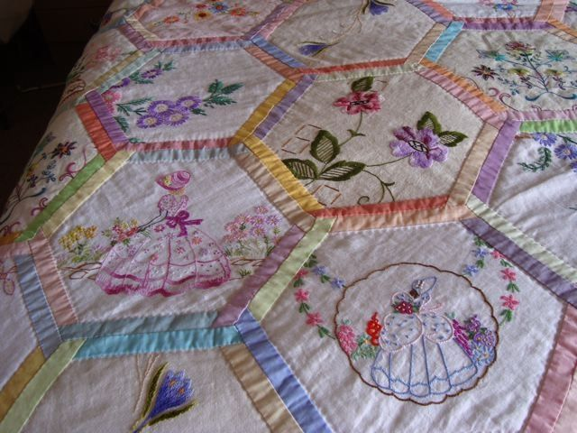 Vintage embroidered linen quilting pinterest for What to do with an old quilt