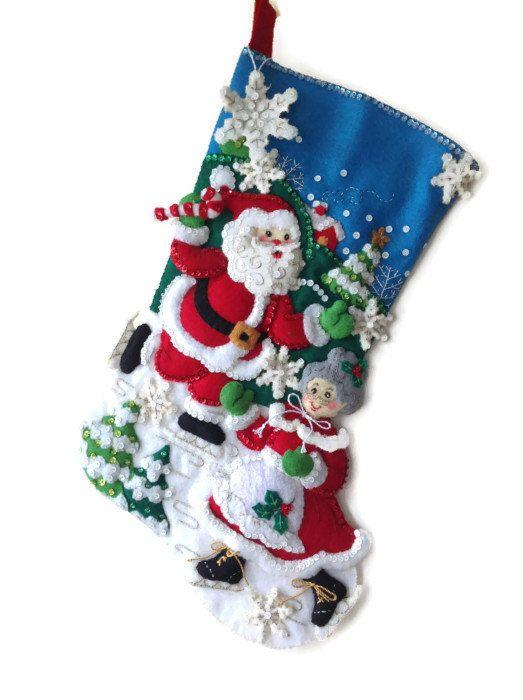 Finished Bucilla Christmas Stocking  Skating by PinsandNeedles0, $84.95