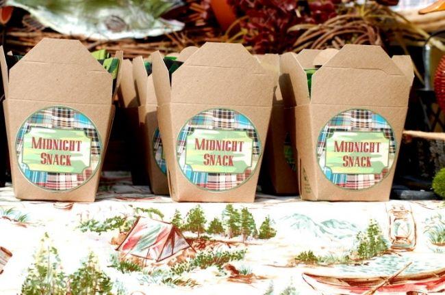 Backyard Camping Party Ideas : CAMPING Themetreat boxes  Teach me  Pinterest