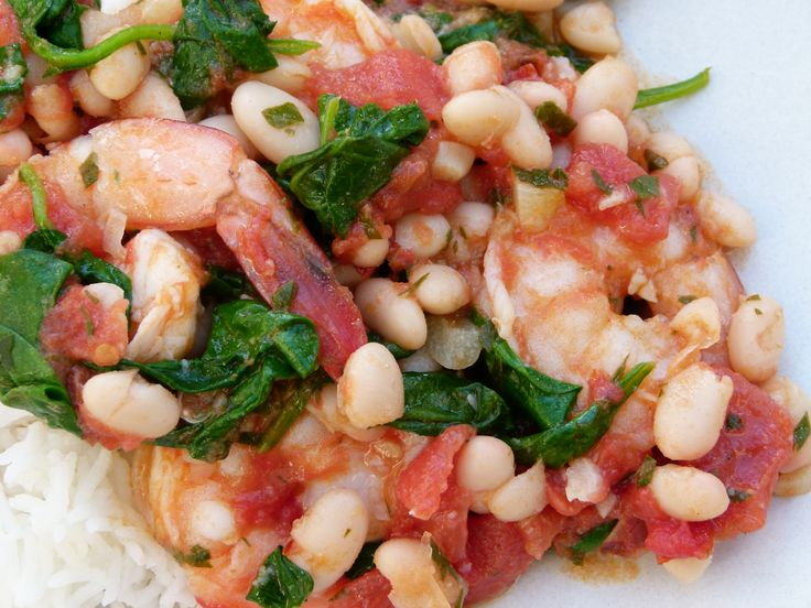 shrimp with tomatoes, white beans and spinach recipe