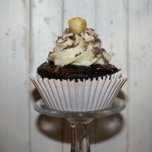 ... cupcake with hazelnut buttercream frosting topped with candied