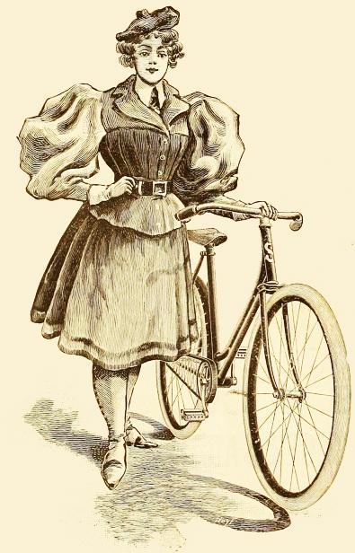 Mcintosh Huntington Company Sunol Bicycle ad, 1896 - now those are some impressive leg o' mutton sleeves! #Victorian #fashion #ads