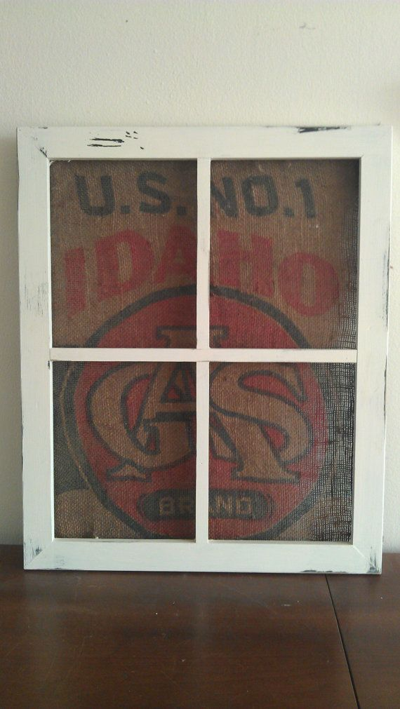 Rustic Window Frame Wall Decor : Mirror frame with burlap window hanging