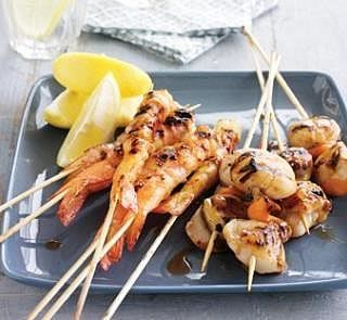 Prawn and Scallop Skewers | Healthy Food Recipes | Pinterest