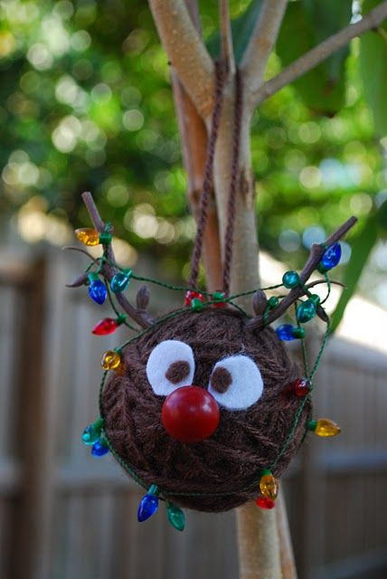 Rudolph ornament made from Styrofoam ball and yarn