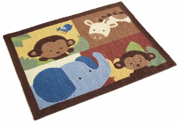 Kids room brown african jungle animals rug home nursery for Kids room area rug