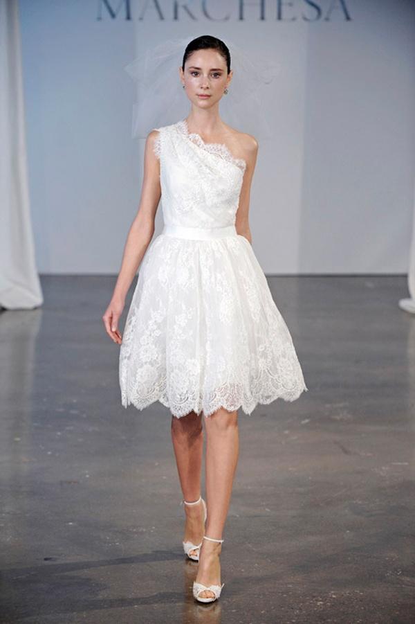 New York Bridal Fashion Week 2014, short lace marchesa gown