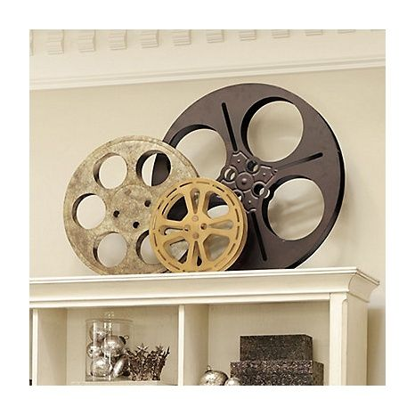 $179.oo Ryan's entertainment rm- Ballard Designs Film Reel Plaques - Set of 3