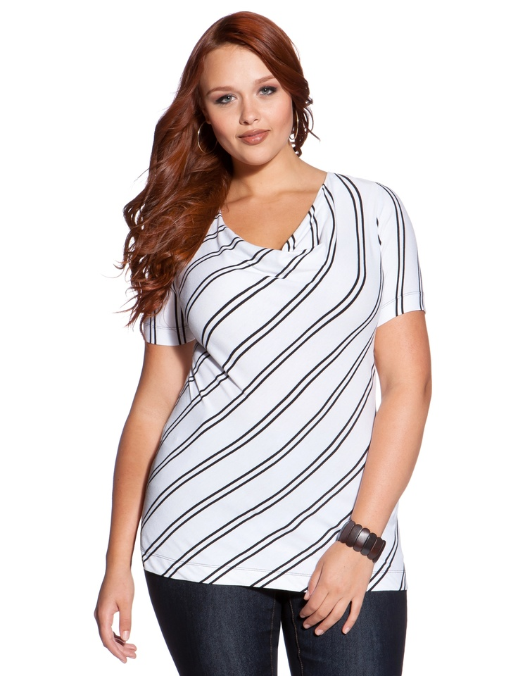 Drape Neck Striped Tee - Women's Tops & Shirts & Plus Size Tops & Shirts - eloquii by The Limited