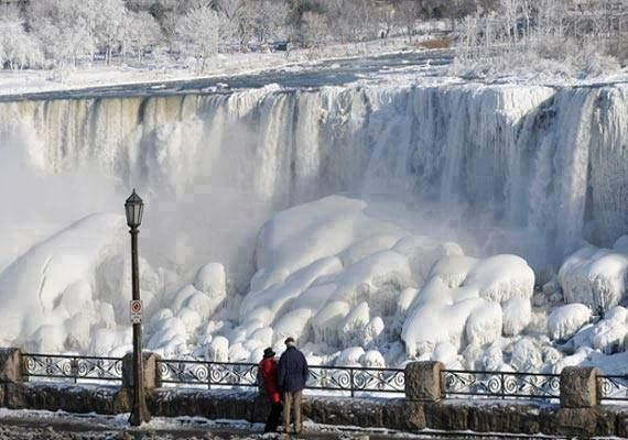 Niagara Falls Partially FROZEN in polar vortex