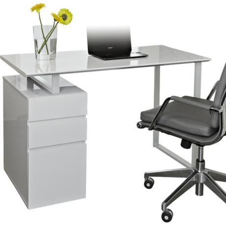 modern white study desk with drawers
