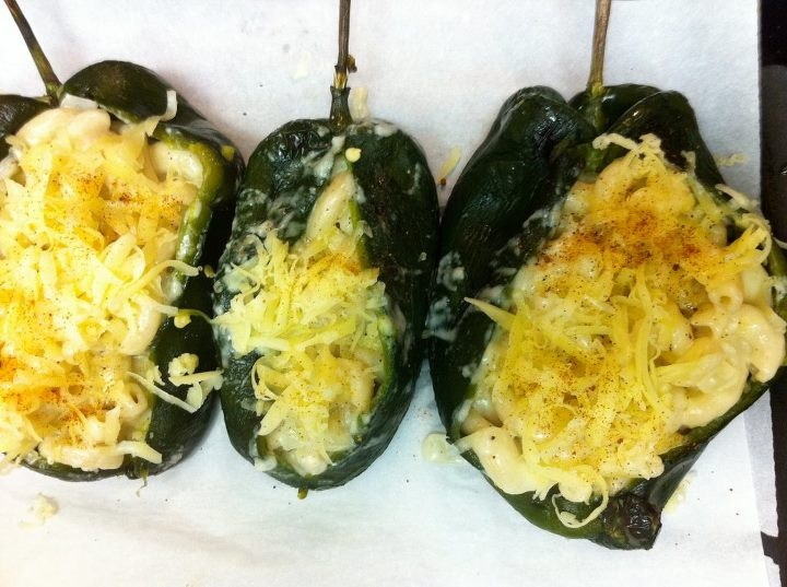 Macaroni & Cheese Stuffed Roasted Poblanos