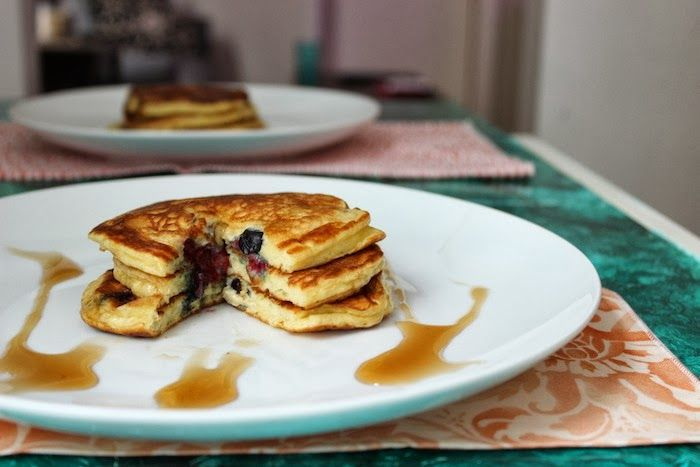 Edna Mae's Sour Cream Pancakes (with Blueberries) #recipe #breakfast