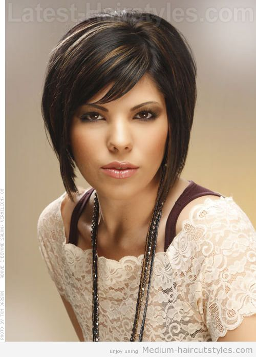 medium-brunette-bob-with-highlights_mini | Hairography | Pinterest