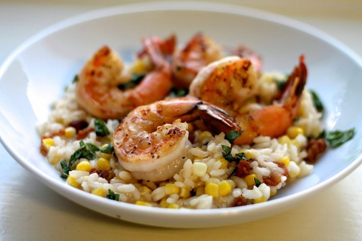 sweet corn + bacon risotto with shrimp. the gal from young and ...