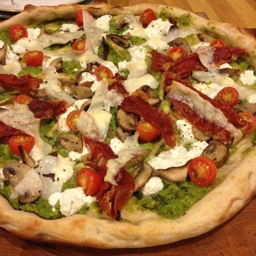 Pizza: Minted fava bean puree (fresh English peas, fresh fava beans ...
