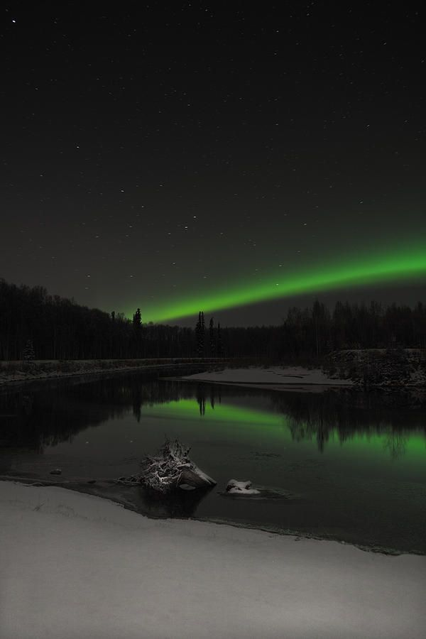 Midnight aurora and first freeze on the chena river, alaska