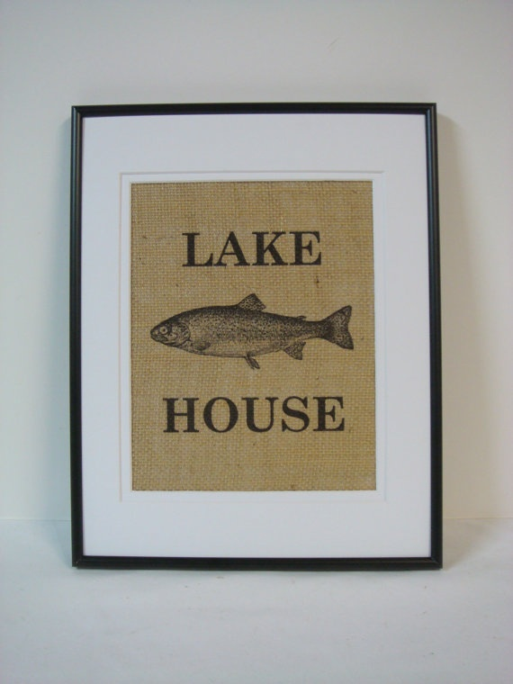 Wall Decor For Lake House : Lake house sign wall decor on natural by