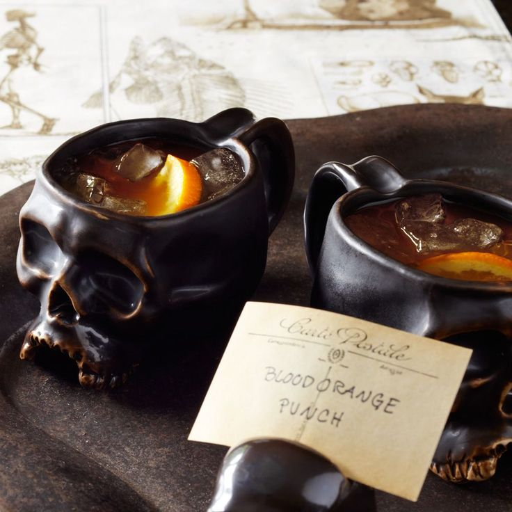 Blood Orange Punch in Williams Sonoma Halloween Skull Mugs