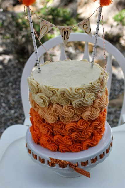 Orange ombre cake with bunting cakes cupcakes and sweets pinter