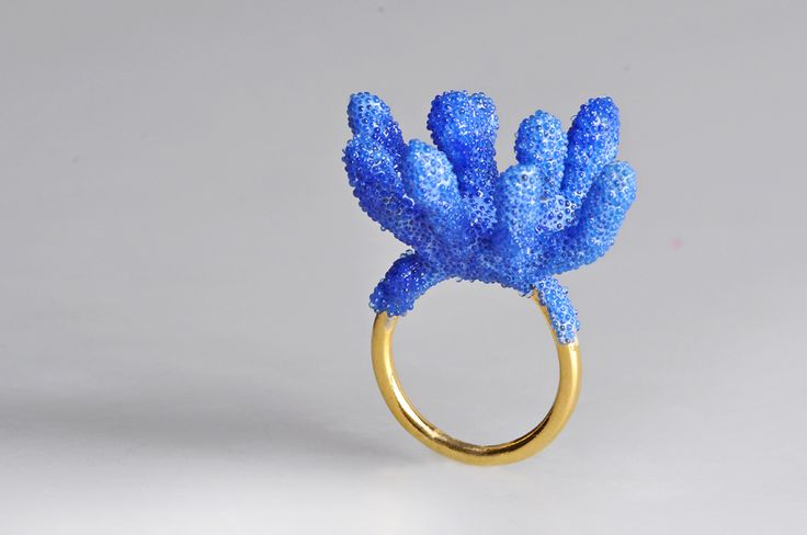 Aisegul Telli Gold plated Brass Ring, Blue Ombre ,  2014
