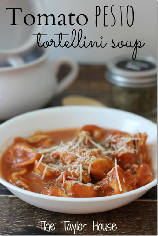 Creamy Tomato Tortellini Soup with Pesto