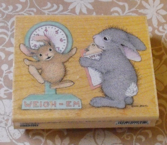 Weight Loss Stamp Funny Bunny and Scale New by ThePaperPeddler, $9.00