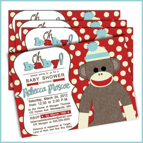sock monkey baby shower invitations for baby boy baby shower oh baby