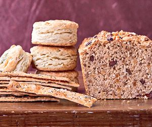 This savory whole grain quick bread is studded with walnuts and olives ...