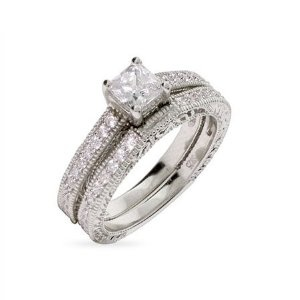 Vintage Style Princess Cut Engagement Ring Set Size 5 (Sizes 5 6 7 8 9 ...