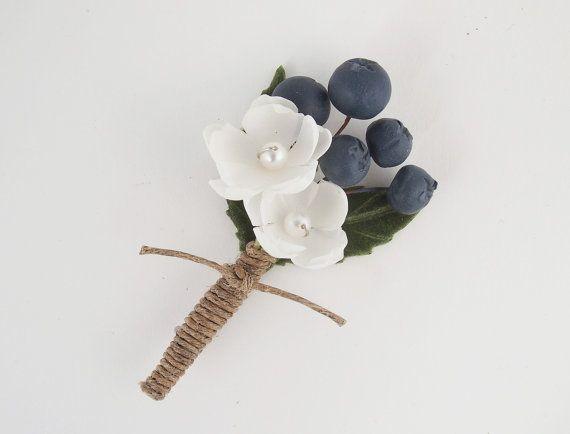 Blueberry Wedding Boutonniere Farm Fresh by sweetlittlesparrow