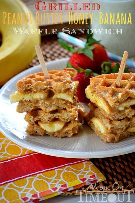 Peanut Butter Honey Banana Waffle Sandwich - made with whole wheat ...