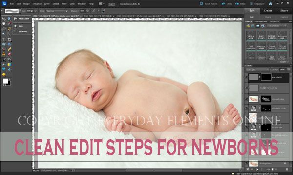 Detailed tutorial on how to edit newborn or baby pictures in PSE or Photoshop by @amandapadgett