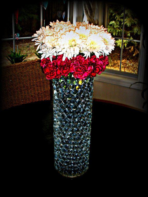 Large wedding centerpiece elegant glass beaded vase