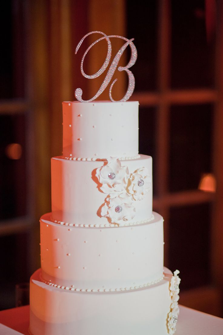 Wedding Cake | Rhinestone Initial Cake Topper | Photography: Michelle March | See More: http://www.stylemepretty.com/florida-weddings/coral-gables/2013/12/03/biltmore-hotel-wedding-by-michelle-march/