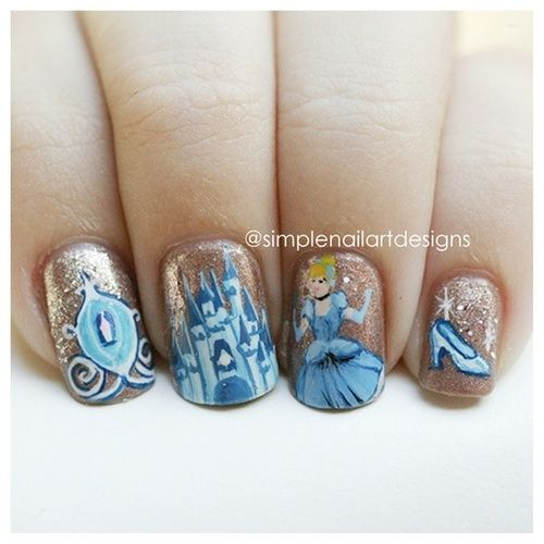 Disney Princess and castle nail art. | Manicure madness ...