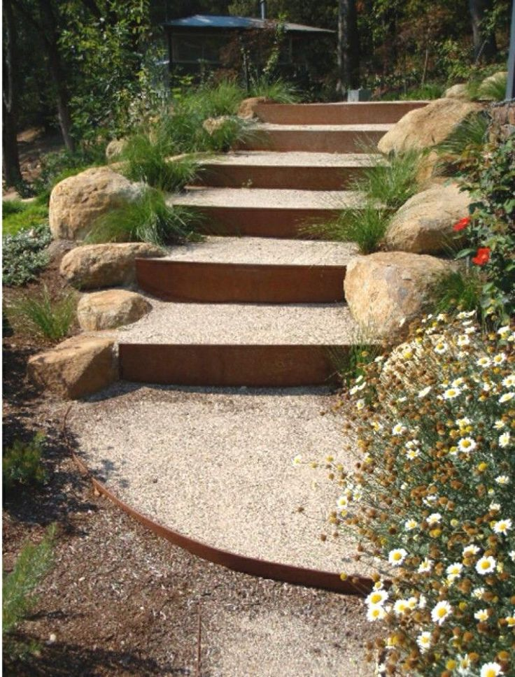 Pea gravel steps for my friends pinterest for Landscape stairs design