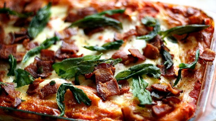 ... Butternut Squash Lasagna with Goat Cheese, Bacon, and Fried Sage