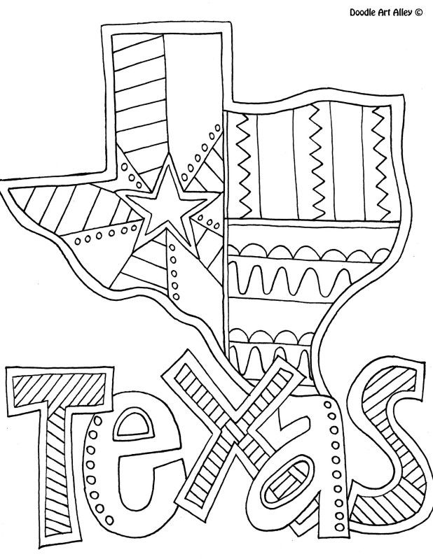 Texas Coloring Page By Doodle Art Alley Usa Coloring