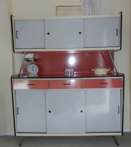 Vintage Formica 50 39 S 60 39 S Kitchen Cupboard Cabinet Red White