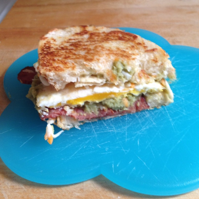 Bacon Guacamole Grilled Cheese Sandwhich (I added a fried egg)